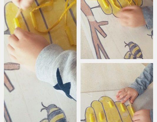 Zečići - igra provlačenja vrpce kroz košnicu, poticaj razvoja preciznosti i koncentracije