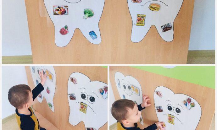 Leptirići - igra na čičak Sretan i tužan zub, razvrstavanje sličica sa zdravom i nezdravom hranom, ponavljanje naučenog te razvoj spoznaje i logičkog mišljenja