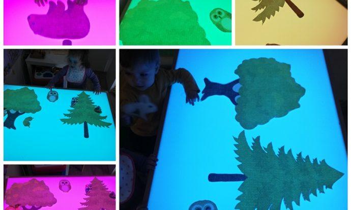 Bubamare - različiti rebrasti materijali na svjetlećem stolu, razvoj vizualne i taktilne percepcije; slikopriča Šumska bajka na svjetlećem stolu, imenovanje pojmova, razvoj senzorike i vokabulara