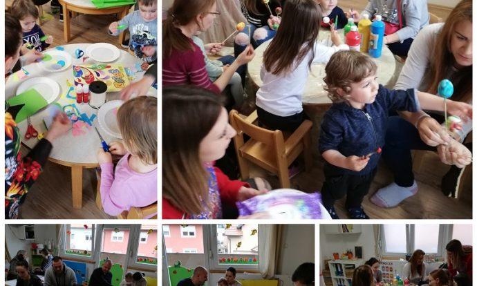 Zečići i Bubamare - zajedničko druženje s djecom i roditeljima na uskršnjoj kreativnoj radionici