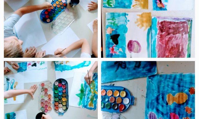 Ribice - Likovna aktivnost slikanja vodenim bojama, tema Sea animals, imenovanje, poticanje na dosjećanje i opisivanje nacrtanog