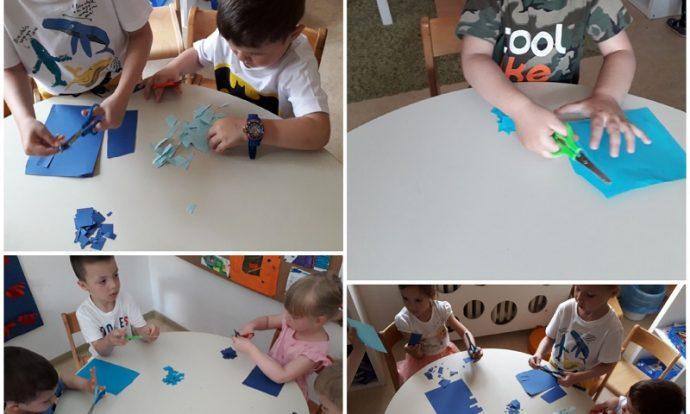 Leptirići - likovna aktivnost na temu Potok, izrezivanje i lijepljenje kolaž papira, razvoj kreativnosti, fine motorike, upornosti