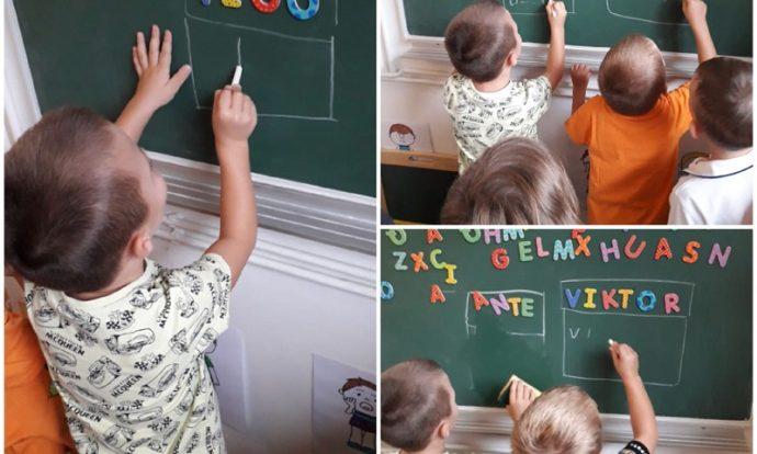 Ribice - aktivnosti početnog čitanja i pisanja, slaganje slova po ploči i ispisivanje istih kredom, poticanje vizualne percepcije i logičkog zaključivanja