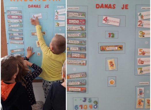 Ribice - interaktivni kalendar, svakodnevno praćenje dana i vremenskih prilika, razvoj spoznaje o vremenu i vremenskim prilikama