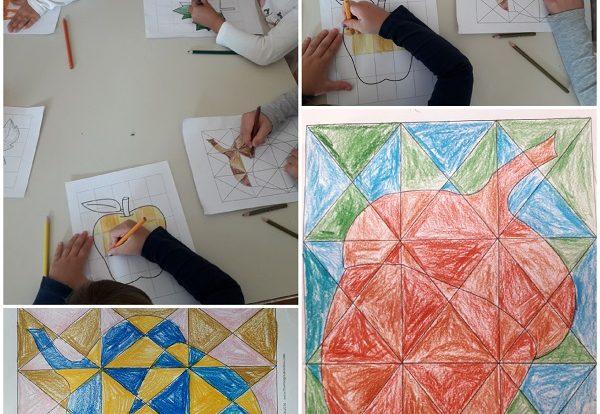 Ribice - likovna aktivnost, bojanje drvenim bojicama, upoznavanje s mozaikom, razvoj upornosti, preciznosti i logičkog mišljenja