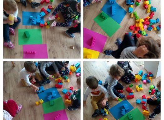 Zečići - razvrstavanje, razlikovanje boja kroz aktivnost razvrstavanja kocaka po bojama