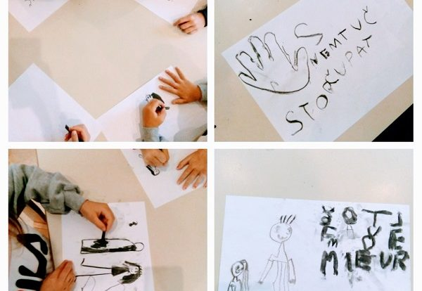 Ribice - Likovna aktivnost crtanje drvenim ugljenom, obilježavanje Međunarodnog dana nenasilja nad djecom