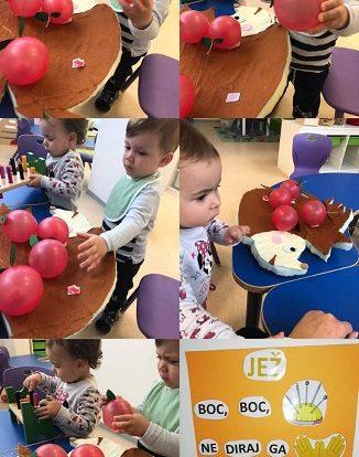 Lavići - slikopriča Boc boc iglicama, povezivanje radnje s pričom, umetaljka s jabukama