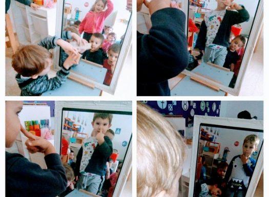 Leptirići engleski - mirror, this is me, my head, eyes, nose...;gledanje u ogledalo, pokazivanje i imenovanje dijelova tijela