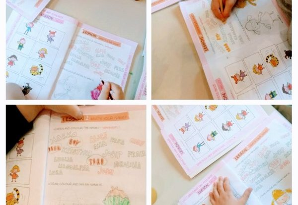 Ribice - First steps1, radna bilježnica, Listen, circle and color, poticanje razvoja vizualne i slušne percepcije te grafomotorike