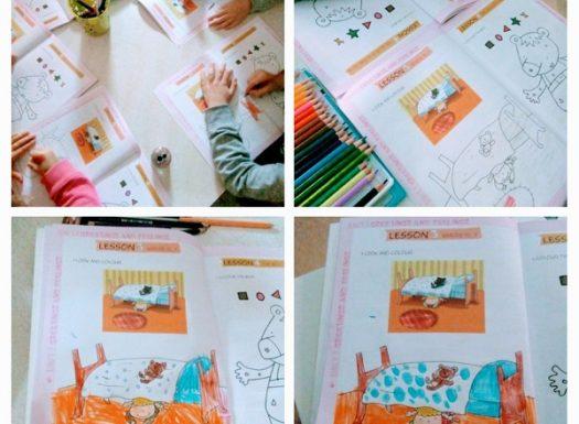 Ribice - First steps 1 workbook, where is.. bojanje slike prema predlošku uz opisivanje, carpet is on the floor