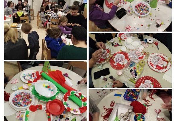 Leptirići - zajedničko druženje s djecom i roditeljima - božićna radionica, poticanje međusobne suradnje