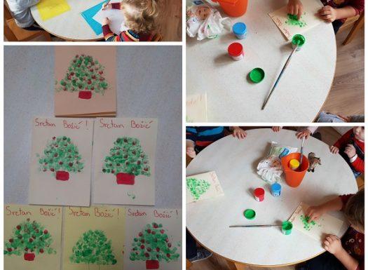 Zečići - izrada božićnih čestitki, poticanje senzomotornog razvoja i kreativnosti