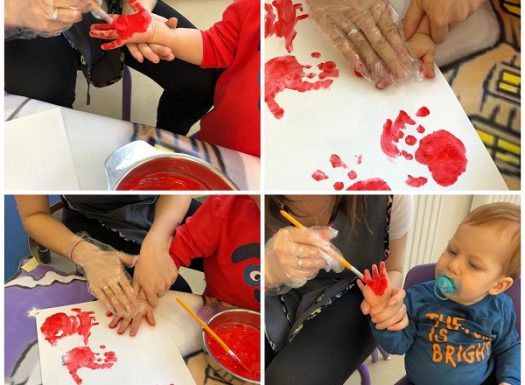 Lavići - otiskivanje dlanova za izradu ruže povodom Valentinova