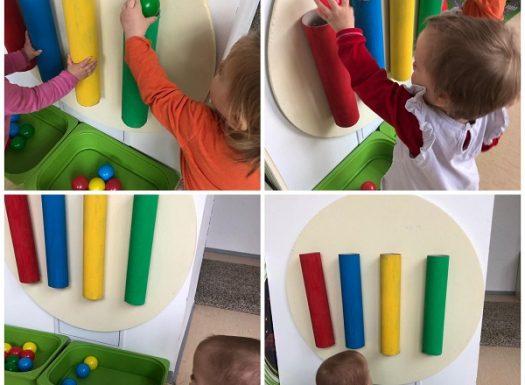Lavići - ubacivanje loptica i razvrstavanje prema osnovnim bojama