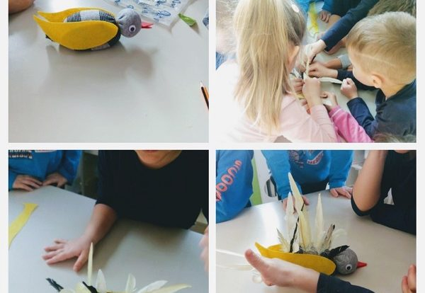 Ribice - creative activity, making a bird of a sock, rice and true feathers