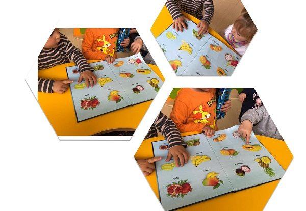 Žirafice - imenovanje i prepoznavanje voća i povrća, uspoređivanje s modelima ( igračkama iz centra kuhinje), poticaj razvoja govora, spoznaje i koncentracije