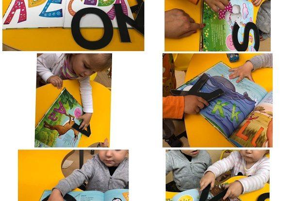 Žirafice - prepoznavanje oblika slova kroz igru slovo na slovo kroz slikovnicu Životinjska abeceda, poticaj razvoja logičkog povezivanja, spoznaje i fine motorike