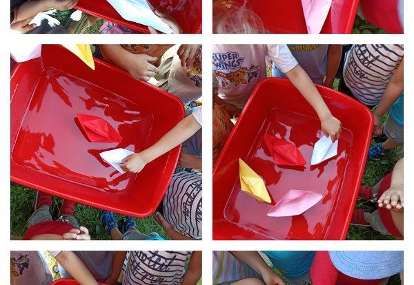 Leptirići - izrada brodova od papira i puštanje u vodu, poticaj razvoja preciznosti, koncentracije i istraživanja
