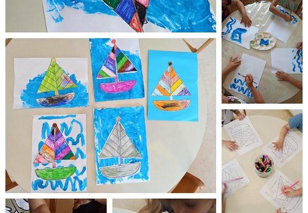 Leptirići - likovna aktivnost oslikavanje mora i bojenje, izrezivanje i lijepljenje broda, poticaj razvoja kreativnosti, fine motorike i koncentracije