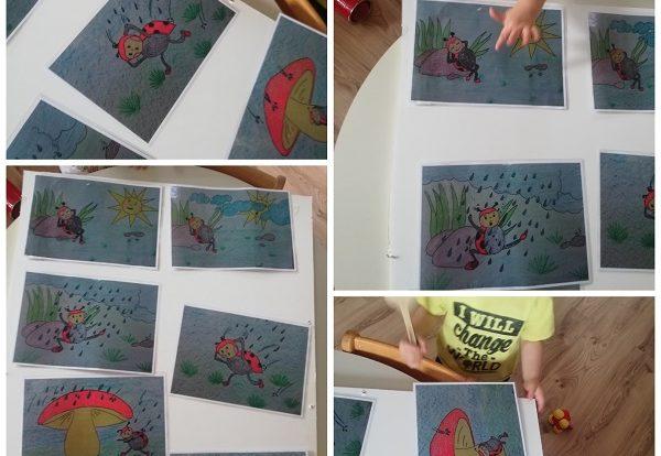 Žirafice i Lavići - pričanje slikopriče Bubamara i gljivica, poticanje na ranu pismenost kroz čitanje i ponavljanje, poticaj razvoja suradnje i pomoći u nevolji
