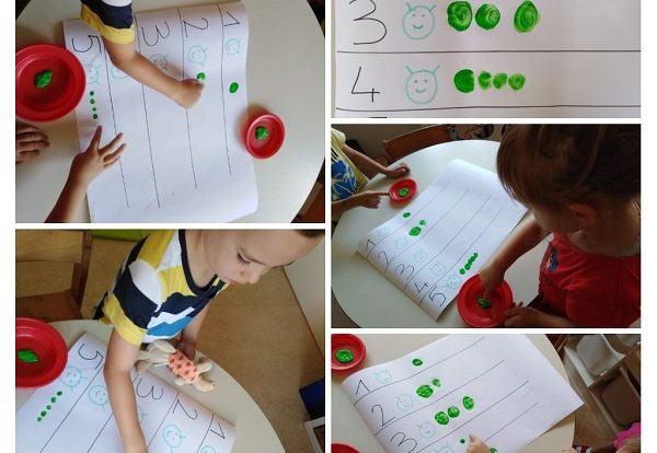 Leptirići - ponavljanje brojeva kroz likovnu aktivnost uz pomoć gusjenice