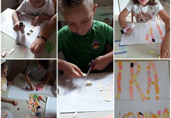 Ribice - obilježavanje Svjetskog dana pismenosti, pisanje imena, lijepljene kolaž papira, razvoj fine motorike, strpljenja, upornosti