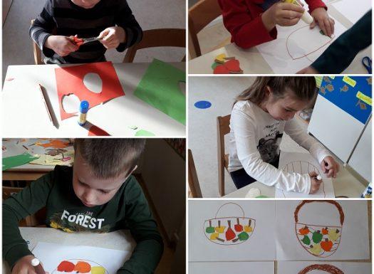 Ribice - likovna aktivnost na temu Košara s jabukama, rezanje i lijepljenje kolaž papira, razvoj kreativnosti, fine motorike, preciznosti