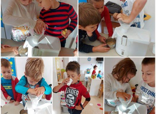 Ribice - istraživačka aktivnost povodom Dana jabuka, izrada soka od jabuka, razvoj spoznaje