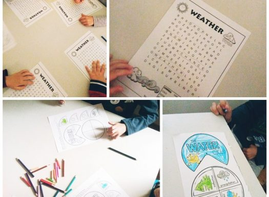 Ribice - graphomotoric exercise, weather wordsearch, water circulation cut and paste worksheets