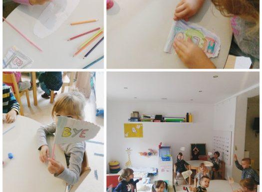 Engleski jezik, Leptirići - making of hello-goodbye flags on straws
