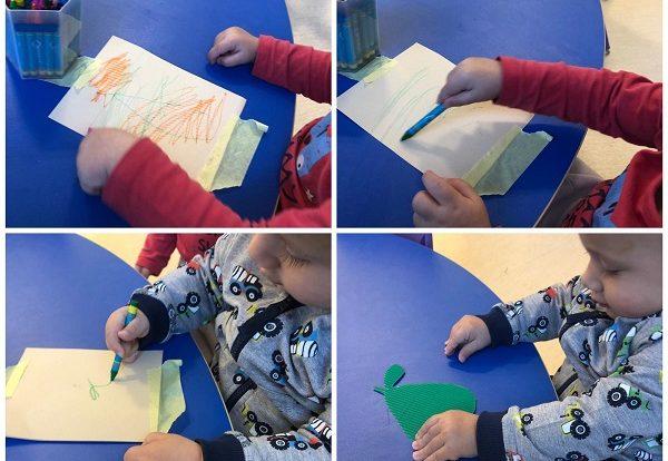 Žirafice - poticanje fine motorike šake i prstiju, pravilan hvat pastele te šaranje sa istom po hrapavoj podlozi koja se nalazi ispod papira - otisak kruške