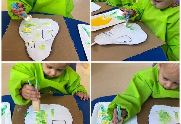 Žirafice - likovna aktivnost na temu Kruška i kišna glista, koristeći tehniku oslikavanja temperom i spužvom kao poticaj razvoja kreativnosti i samostalnosti u likovnom izražavanju