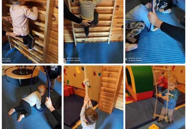 Zečići - boravak u dvorani, poticanje razvoja motorike cijelog tijela aktivnostima penjanja i provlačenja