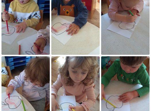 Zečići - obilježavanje Dana jabuka kroz likovnu aktivnost, poticaj razvoja kreativnosti, fine motorike i ponavljanja boja