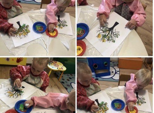 Žirafice - likovna aktivnost na temu Jesen i obradu pjesmice - Tiho, tiho pada list za listom žut, otiskivanje pomoću kartonskog tuljka, poticanje kreativnog izražavanja uz glazbenu podlogu