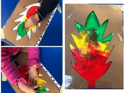 Žirafice - taktilno istraživanje boja kroz foliju, miješanje boja, te dobivanje novih kao poticaj razvoja taktilne percepcije i učenje boja