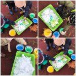 Žirafice-likovno-istrazivacka aktivnost istrazivanje teksture i svojstva upijanja boje u snijeg (topljenje i sirenje boje), imenovanje boje prilikom umakanja kista u kanticu