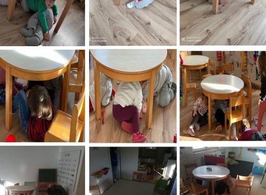 Razbacali smo sobu da si napravimo prepreke i otežamo vježbu. Glumili smo da je potres i što brže se sakrili pod stol. Pri tome smo pazili da si zaštitimo glavu i vrat.