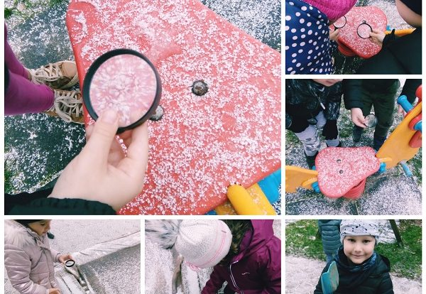 Ribice - Research activities, observing brand new snow outside with magnifier