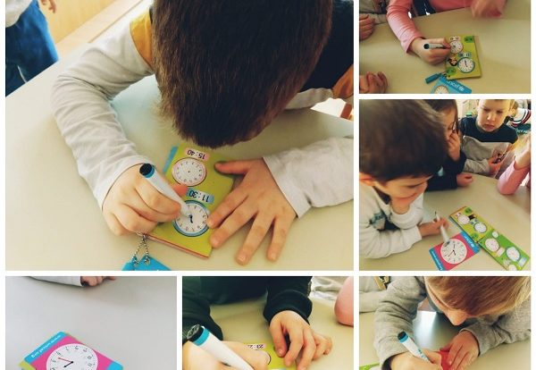 Ribice - Activities on draw-erase UNICEF clock pad, what time is it