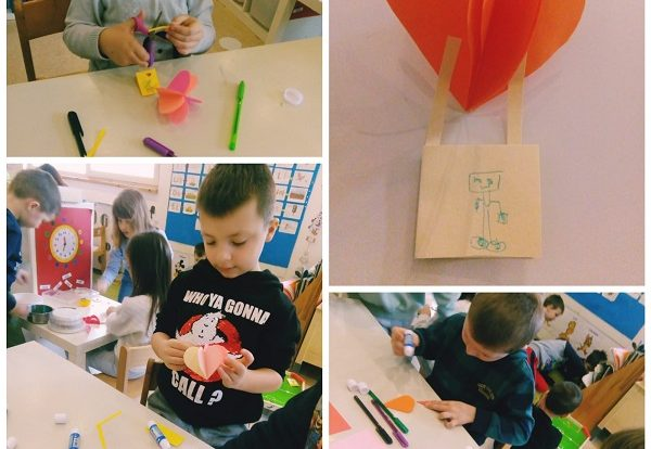 Ribice - Creative activities for Valentines day, making a heart hot baloon from collage paper