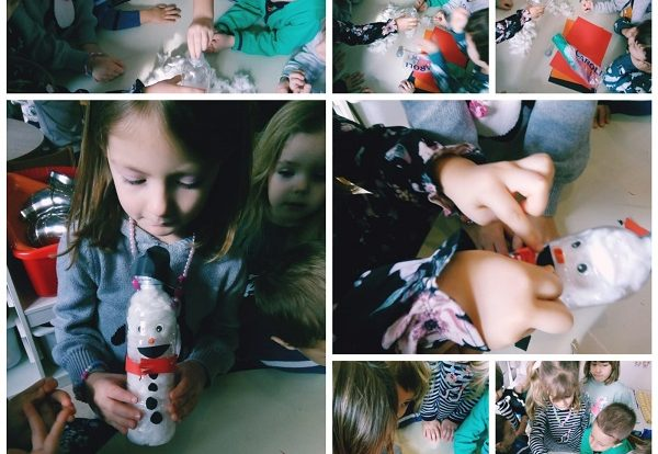 Leptirići engleski - making the snowman by using bottle, cotton and collage paper