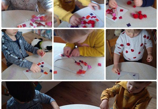 Zečići - Likovne aktivnosti na temu Valentinova, bojanje temperama i ljepljenje raznih materijala, poticanje razvoja kreativnosti, mašte i suradnje