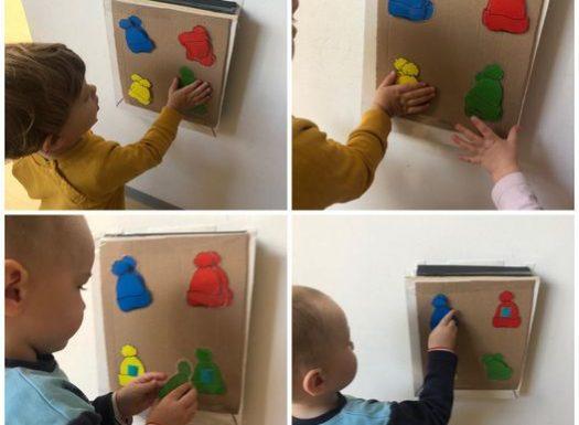 Žirafice- razvoj spoznaje i fine motorike putem sortiranja i lijepljenja kapa prema bojama; poticanje na strpljivost prilikom čekanja na red za sortiranje