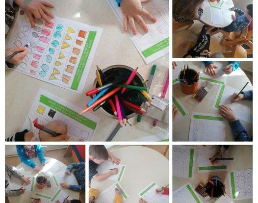 Leptirići- poticanje na pravilno držanje olovke, grafomotoričke vježbe, imenovanje geometrijskih oblika