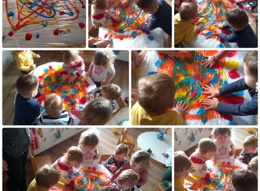 Zečići - razvoj taktilne percepcije, miješanje boja te prepoznavanje i imenovanje dobivenih boja, zajednička izrada umjetničkog dijela