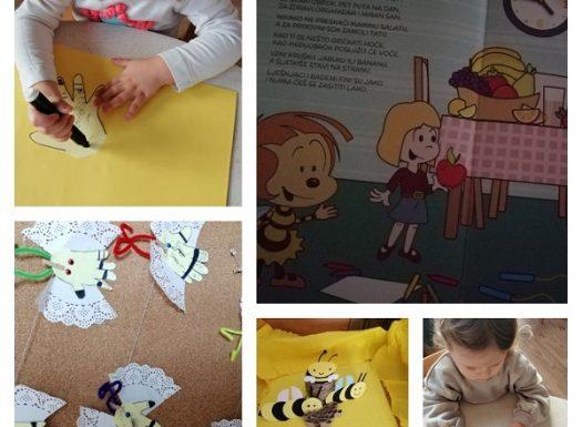 Zečići - slikovnica Pčelica; poticanje na razvoj govora i obogaćivanje rječnika. Likovna aktivnost - izrada pčelice; poticanje kreativnosti i mašte