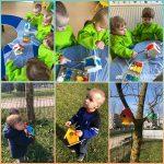 Žirafice - zajednička likovna aktivnost; oslikavanje kućica za ptice temperama, poticanje na suradnju i brigu o prirodi i životinjama