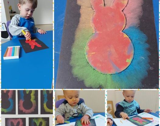 Žirafice- likovna aktivnost kredom u boji, razvijanje preciznosti i okulomotorike prilikom bojanja kartonskog obruba, poticanje kreativnosti i istraživanje svojstva krede i kontrasta boje